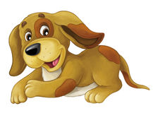 Cartoon happy dog is lying down - resting smiling and looking - artistic style - vector illustration
