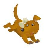 Cartoon happy dog running and jumping Stock Photos