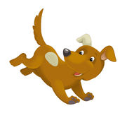 Cartoon happy dog running and jumping Royalty Free Stock Photos