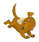Cartoon happy dog running and jumping Royalty Free Stock Image
