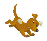 Cartoon happy dog running and jumping. Happy and funny traditional illustration for children - scene for different usage stock illustration