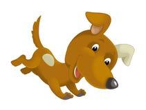 Cartoon happy dog running and jumping Stock Image