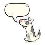 Cartoon happy dog with speech bubble Stock Photo