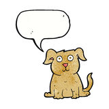 Cartoon happy dog with speech bubble Stock Photos