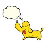 Cartoon happy dog with thought bubble Stock Photography