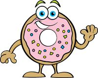 Cartoon Happy Donut Waving. Royalty Free Stock Photos