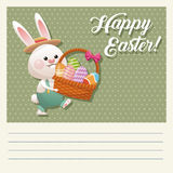 Cartoon happy easter bunny basket egg Royalty Free Stock Image