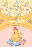 Cartoon Happy Easter Festive Card Royalty Free Stock Images