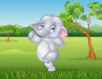 Cartoon happy elephant in the jungle. Illustration of Cartoon happy elephant in the jungle Royalty Free Stock Photos
