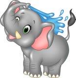Cartoon happy elephant spraying water Royalty Free Stock Photography