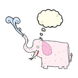 Cartoon happy elephant with thought bubble Stock Photography