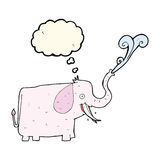 cartoon happy elephant with thought bubble Stock Images