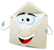 Cartoon Happy Email Character. Illustration of a funny cartoon email envelope icon character over white background for your contact and support Royalty Free Stock Photos
