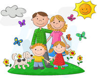 Cartoon Happy family against a beautiful landscape Stock Photos
