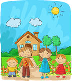 Cartoon Happy family against a landscape and the house Royalty Free Stock Photography