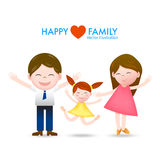 Cartoon happy family dad, mom and daughter with smile and joyful Royalty Free Stock Images