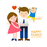 Cartoon happy family dad, mom and daughter with smile and joyful Stock Image