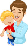 Cartoon happy family father holding son Royalty Free Stock Image