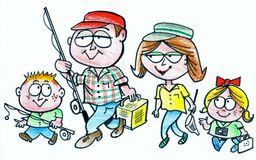 Cartoon of happy family going fishing. In this original cartoon, a smiling family group is carrying rods and reels as they embark on a fishing trip Stock Photo