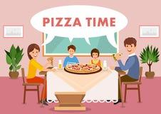 Cartoon happy family is having lunch in restaurant stock illustration