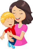 Cartoon happy family mother holding son Stock Photography