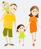 Cartoon happy family Stock Photography
