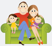 Cartoon happy family Royalty Free Stock Photography