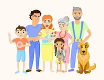 Cartoon happy family portrait with cat and dog. Stock Photo