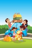 Family preparing for vacations. Cartoon happy family preparing for vacations Stock Photos