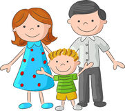 Cartoon Happy family sketch Royalty Free Stock Image