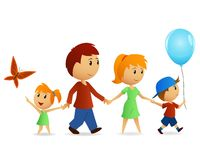 Cartoon happy family on walk. Vector illustration. Family walking on path outdoors smiling Royalty Free Stock Image