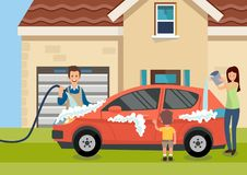 Cartoon happy family washes car near home stock illustration