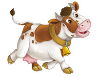Cartoon happy farm animal - cheerful cow is running smiling and looking - artistic style - isolated Stock Photography