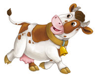 Cartoon happy farm animal - cheerful cow is running smiling and looking - artistic style - isolated Stock Image