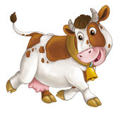 Cartoon happy farm animal - cheerful cow is running smiling and looking - artistic style - isolated. Happy and funny traditional scene for different usage - for vector illustration