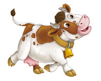 Cartoon happy farm animal - cheerful cow is running smiling and looking - artistic style - isolated Royalty Free Stock Image