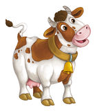 Cartoon happy farm animal - cheerful cow is standing smiling and looking - artistic style - isolated. Happy and funny traditional scene for different usage - for vector illustration