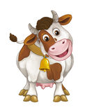 Cartoon happy farm animal - cheerful cow is standing smiling and looking - artistic style - isolated Stock Images