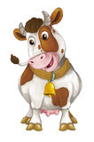Cartoon happy farm animal - cheerful cow is standing smiling and looking - artistic style - isolated Stock Photography