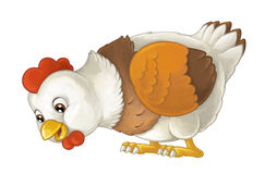 Cartoon happy farm animal - cheerful hen is standing smiling and looking - artistic style - isolated. Happy and funny traditional scene for different usage stock illustration