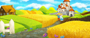 Cartoon happy farm scene with castle in the background Royalty Free Stock Photos