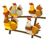 Cartoon happy farm scene - crowd of happy hens sitting Stock Image