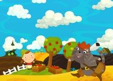 Cartoon happy farm scene - girl gathering apples from the trees Royalty Free Stock Photo