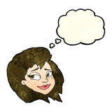 Cartoon happy female face with thought bubble Royalty Free Stock Photography