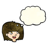 Cartoon happy female face with thought bubble Stock Photo