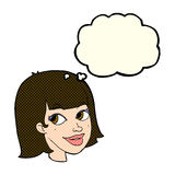 Cartoon happy female face with thought bubble Stock Images