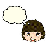 Cartoon happy female face with thought bubble Royalty Free Stock Image