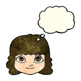 Cartoon happy female face with thought bubble Royalty Free Stock Images