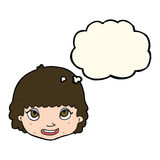 Cartoon happy female face with thought bubble Stock Photography