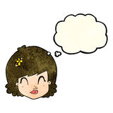 Cartoon happy female face with thought bubble Royalty Free Stock Photos